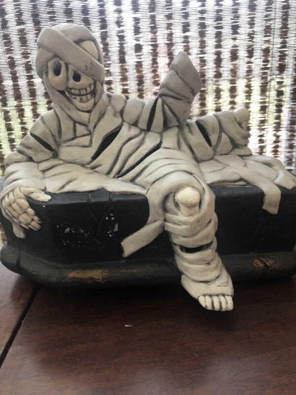 "Halloween Light Up Mummy On Coffin Pottery Handpainted Decoration 9"" Red Light"