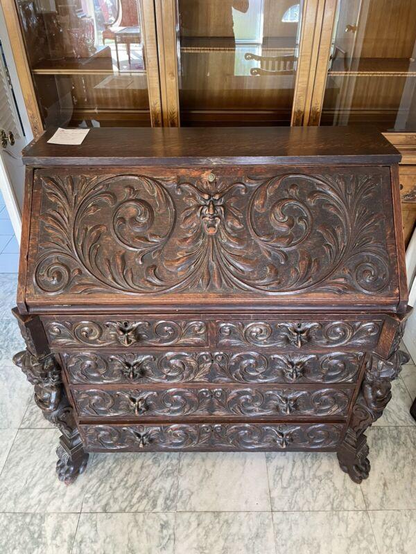 Rare Carved Mahogany Lion Face R.J. Horner Writing Desk c1800's