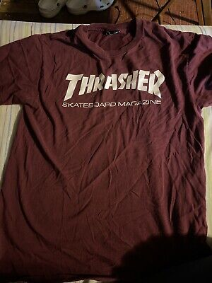 thrasher Skateboard Magazine t shirt medium Maroon