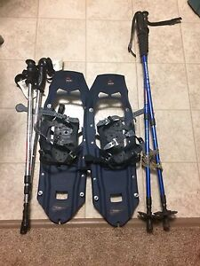 MSR Ladies snow shoes and 2 sets of poles