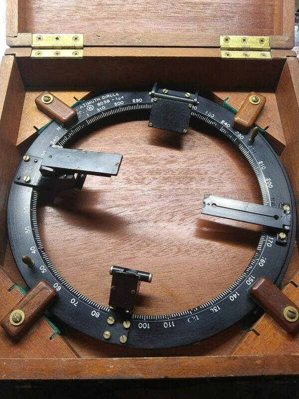 U.s. Navy Bearing Circle For Ship Compass With Original Case