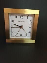 Tiffany & Co. Solid Brass Table Top Desk Shelf Mantel Clock Made In Switzerland
