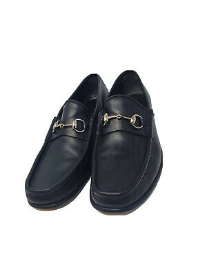 Vintage Gucci Horsebit Loafers Shoes Black Leather Men's 10.5 D Italy 110 0009/4