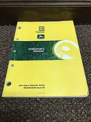 Genuine Kriginal John Deere 8560 8760 8960 Tractor Operators Operation Manual