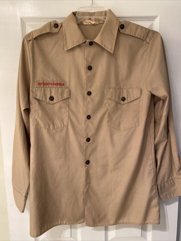 Boy Scout BSA UNIFORM SHIRT Mens Medium Long Sleeve Tan I21