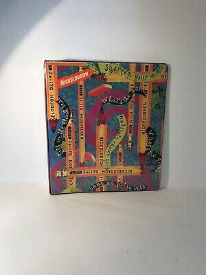 Vintage Nickelodeon 3-Ring Binder Hard Folder 1996 90s pencils  - 90s School Supplies