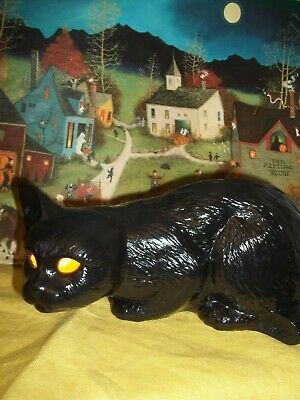 SCARY CERAMIC HALLOWEEN STALKING BLACK CAT LIGHT UP OLD YELLOW EYES VTG INSPIRED - Cats Eyes Halloween