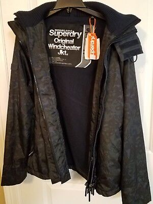 NEW Superdry Jacket Windcheater Dark Army Green Camouflage Hooded Men's Size LG