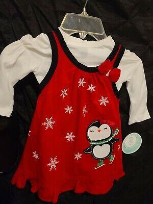 NWT INFANT NANNETTE GIRLS 12 MONTH CHRISTMAS DRESS HOLIDAY JUMPER & TOP SPARKLES