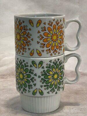 2~Vintage Retro Stackable Flower Power Coffee Mug Japan Heart Handle