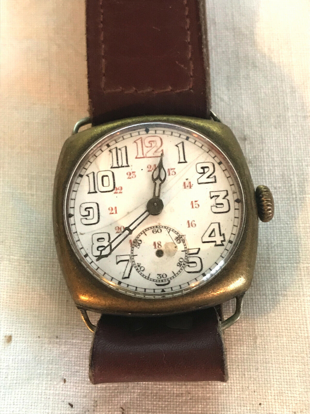 Montre militaire de poilu ww1 french trench watch 1915 a restaurer bracelet cuir