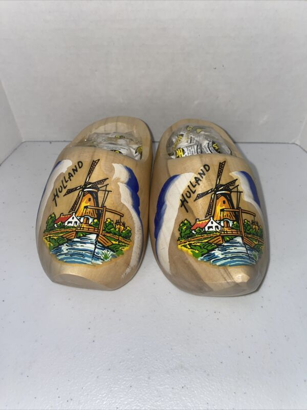 2 Collectible Dutch Wooden Shoes Clogs - Windmill - Made in Holland
