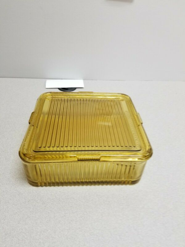 VINTAGE SQUARE AMBER DEPRESSION GLASS RIBBED REFRIGERATOR DISH WITH LID