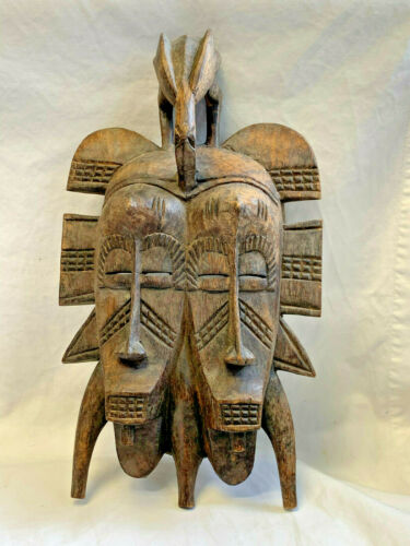 African Vtg Carved Wood Tribal Mask Wall Hanging Decor Statue Faces Bird Topper