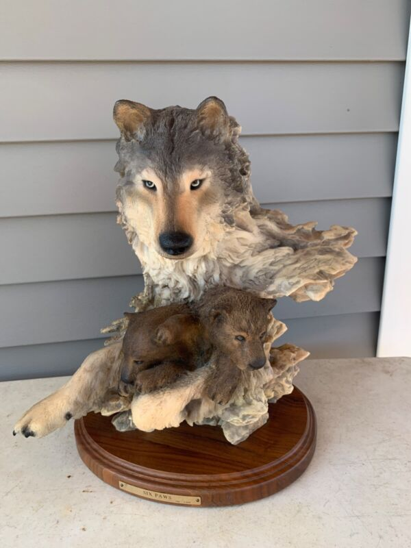 Limited edition six paws randy reading wolf and pups fine art sculpture