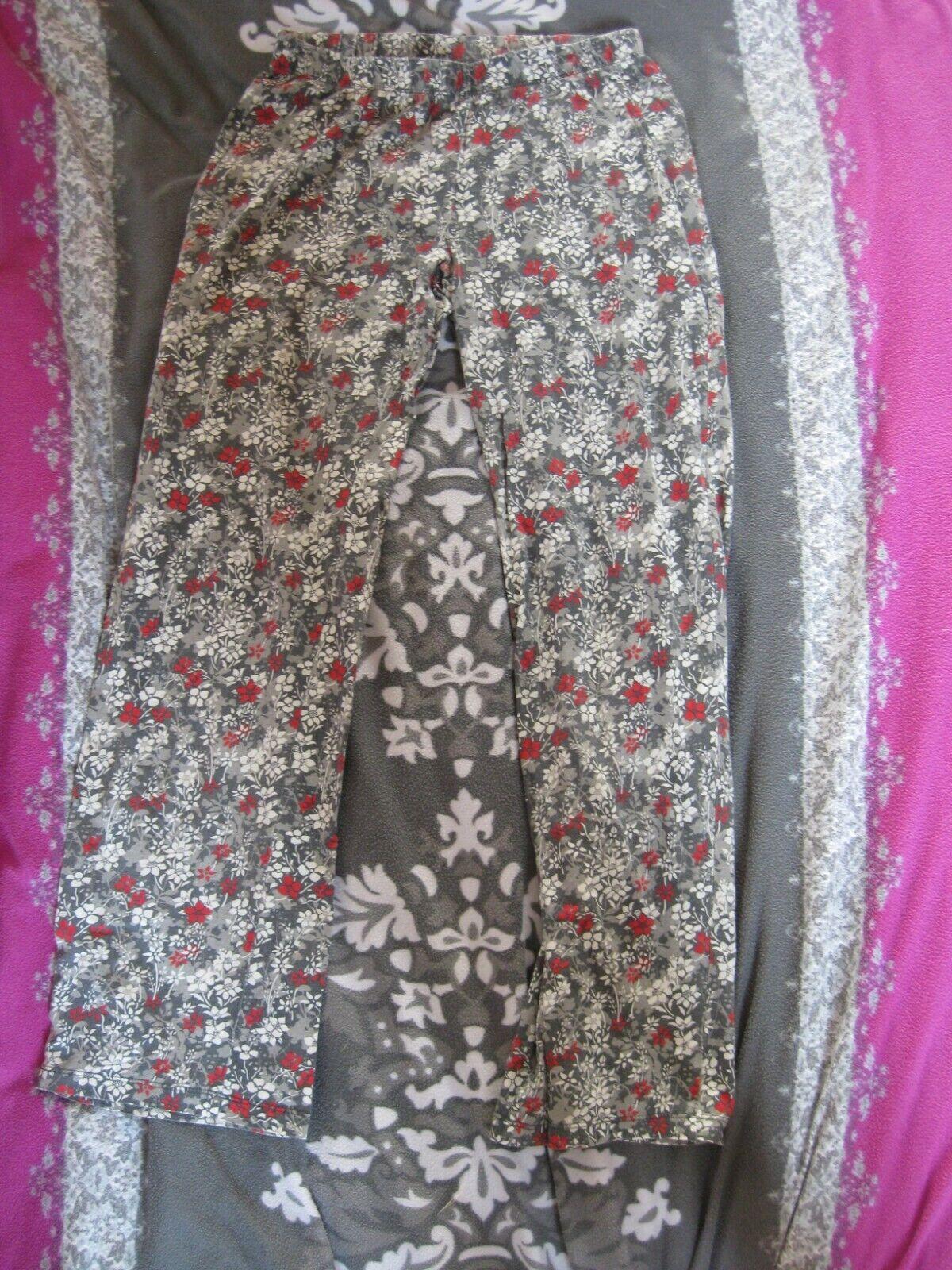 Pyjama-Hose/Schlafhose grau mit Blumen Gr.S