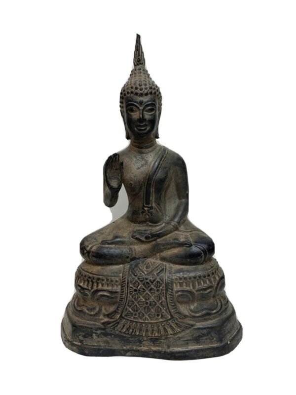 Antique Thai Bronze Patina Seated Buddha Statue Figure 9.5""
