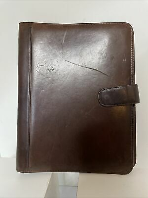Wilsons Brown Leather 3-ring Binder -1 12 -rings -inside Pouches Crd Holders