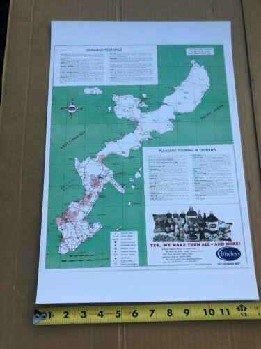 """MAP OF 1971 OKINAWA, 18"""" x 12"""" Good display quality, BIRELEY"""