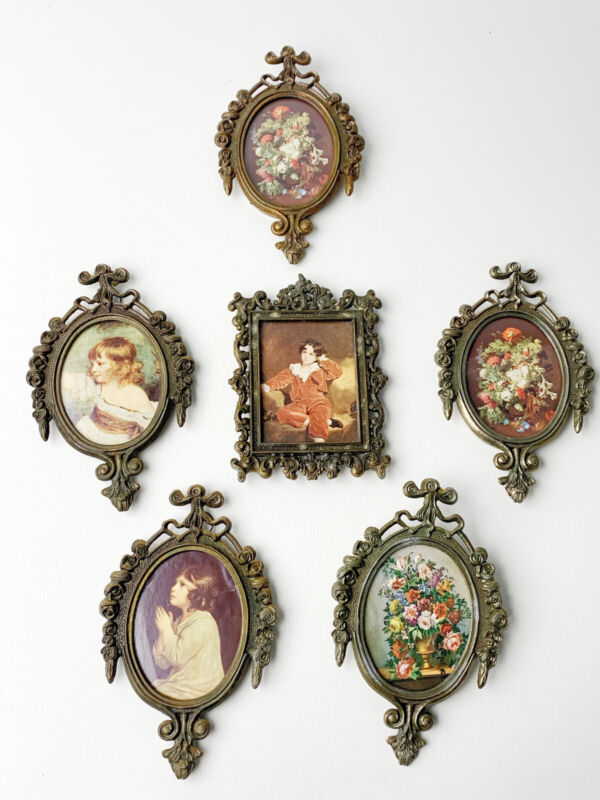 Lot Of 6 Vintage Small Brass & Glass Oval Picture Frames Made In Italy Pre-Owned