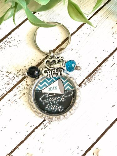 Cheerleader Key Chain - PERSONALIZED - Cheer Coach Key Ring - Any Color