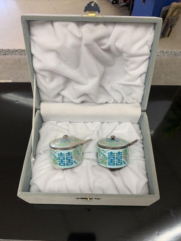 Sterling Silver Asian Enamel Condiment Tea Serving Set 236 Grams