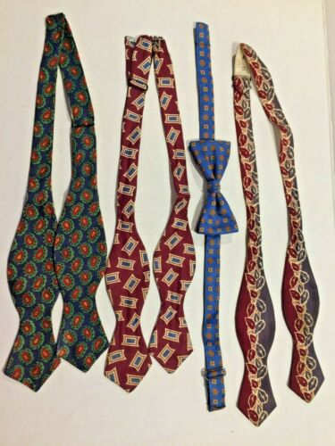 Vintage Bow Tie Lot 1940s-50s Untied Tied Adjustable Silk Vicky Davis Resilio