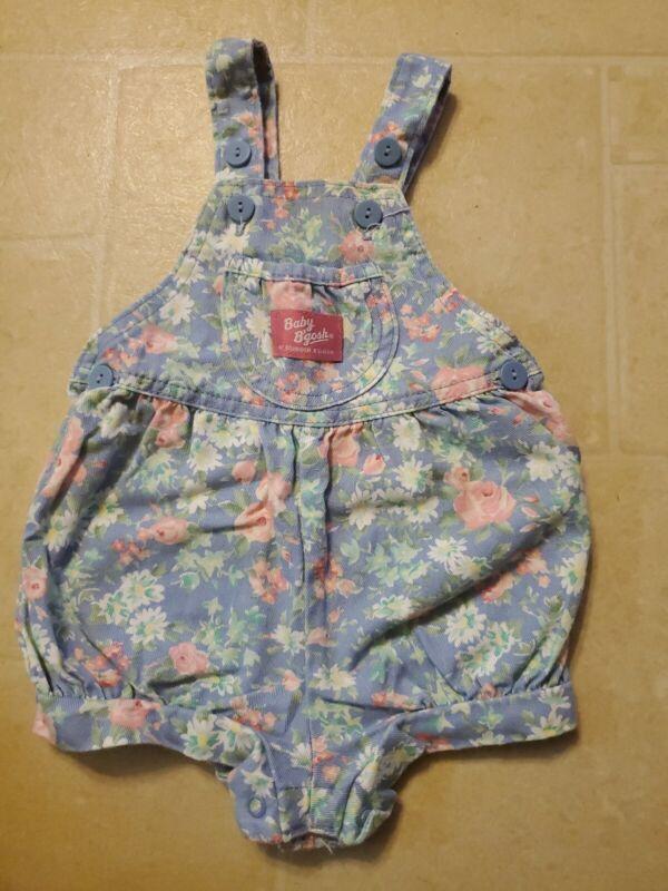 Oshkosh B'gosh Vintage Vestbak Girl Floral Bubble shortall Romper 3/6 Months USA