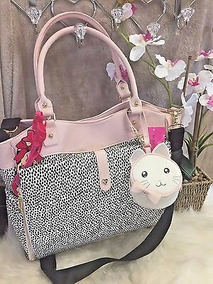 NEW! BETSEY JOHNSON Large Diaper Baby Bag PINK Spot Dot Cat Carry On Black Blush