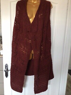 Tu Alpaca Wool Mix Sleevless Long Brown Cardigan With Waterfall Bottom Size...