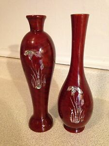 2 Fine Wood Lacquered Vases With Semi-Precious Stone Inlay