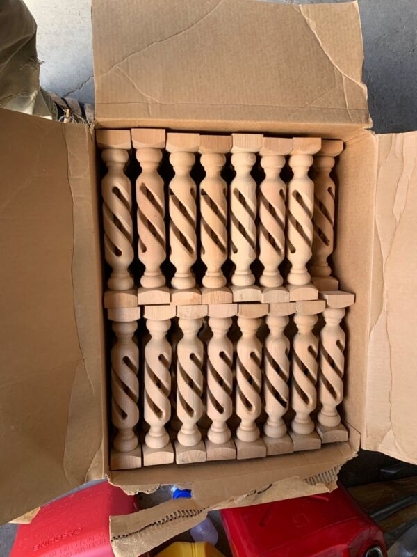 "24 Wood (wooden) Spiral turned Spindles / Balusters 13"" Tall stairs, rail, loft"