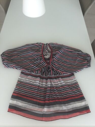 Rinascimento Bluse Größe S, dunkelblau–rot–weiß