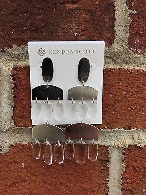 NWT Kendra Scott Emmet Earrings in Rhodium Clear Glass