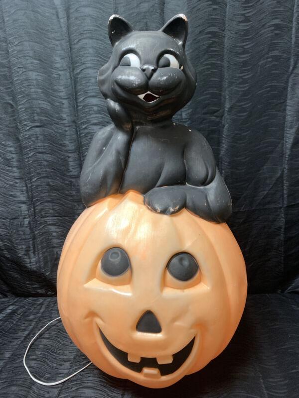 Vintage EMPIRE Halloween Blow Mold BLACK CAT IN PUMPKIN Lighted Yard Decoration!