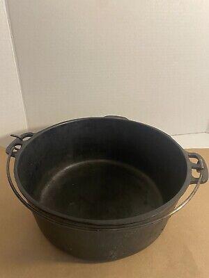 "Vintage Wagner Ware 1268 C Cast Iron Dutch Oven Kettle Sydney Ohio Pot 10"" inch"