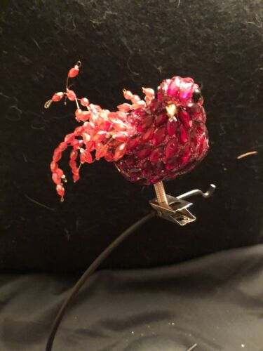 Vintage red / beaded Jeweled Bird on Clip Holiday Shaped Ornament