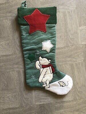 green Corduroy plush Disney's Classic Winnie The Pooh Christmas stocking