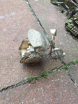 Oriental Miniature White Metal Rickshaw, Very Pretty Vintage
