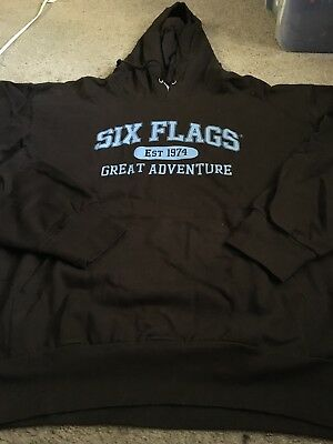 Six Flags Great Adventure Adult 2XL XXL Hoodie Brown Blue 1974 Jackson NewJersey