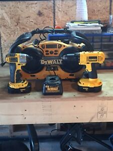 Dewalt 18v, two drills, two battery's, radio and charger