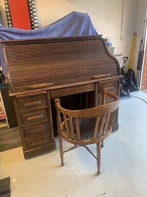 Antique Rolltop Desk/ Bureau With Antique Chair
