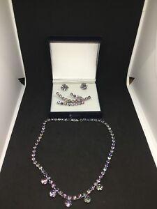 Vintage Rhinestones Costume Jewelry Set Brooch, Necklace, Earrin