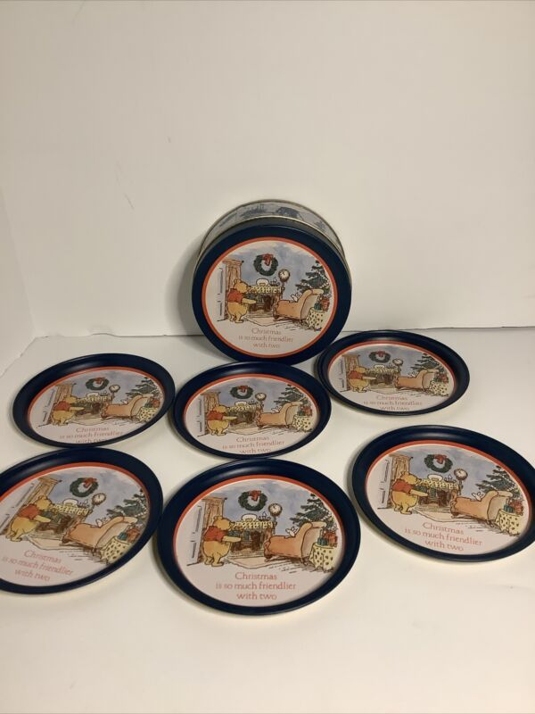 Classic Winnie The Pooh and Piglet Christmas Willitts Galleries Tin & 6 Coasters