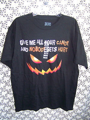 New Halloween T Shirt Black Give Me All Your Candy Pumpkin Face Costumes Mens L ](All Black Face Halloween)