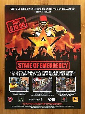 State of Emergency PS2 2001 Vintage Print Ad/Poster UK Official ROCKSTAR Art GTA