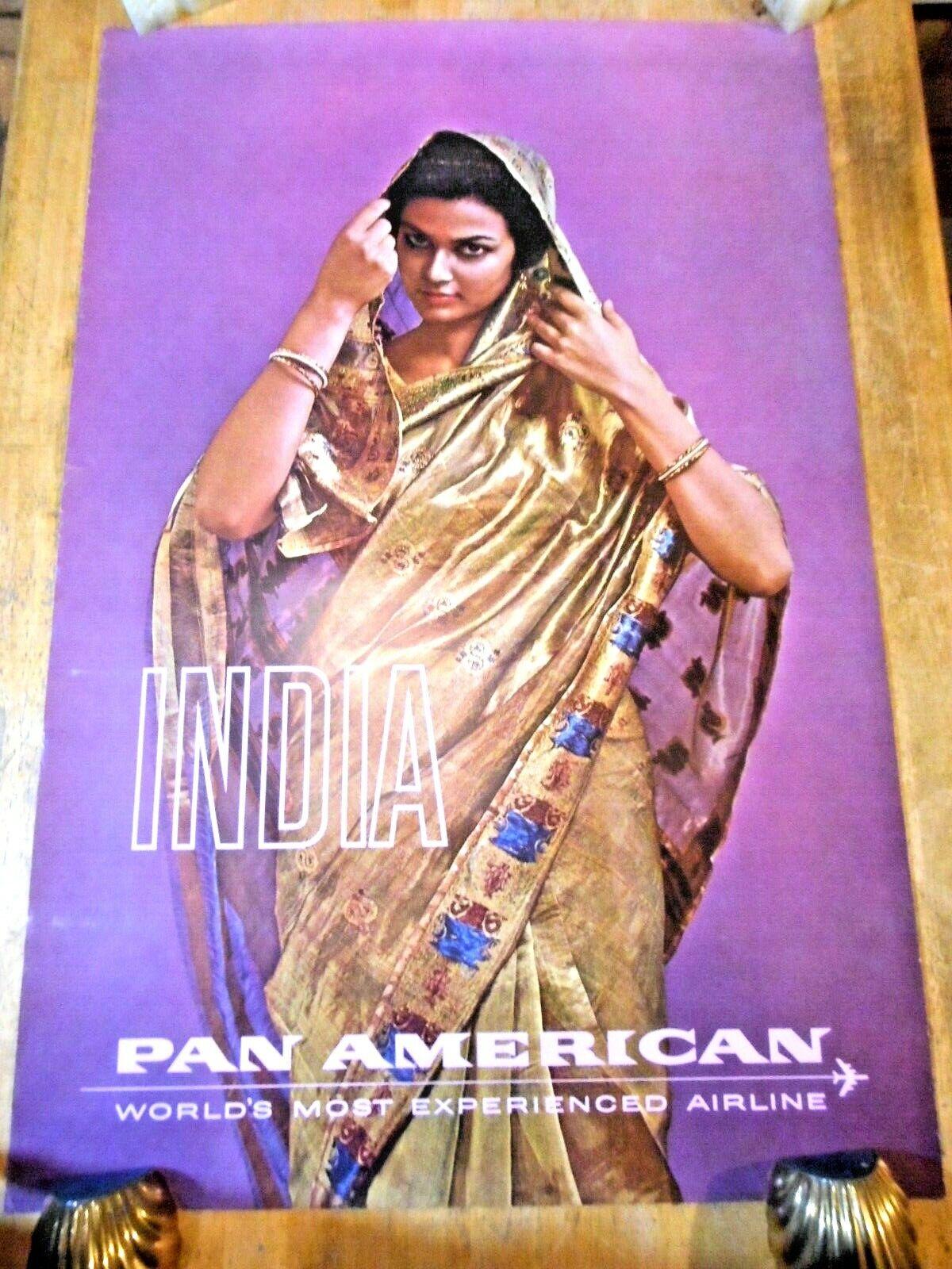 C 1960S INDIA PAN AM AIRLINES ORIGINAL TRAVEL POSTER PRETTY WOMAN IN GOLD SARI - $9.95
