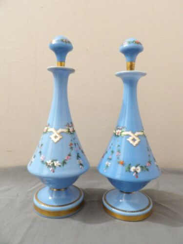 "Victorian Antique Blue Opal Hand Painted Perfume Bottles Cologne 10,5"" fine"
