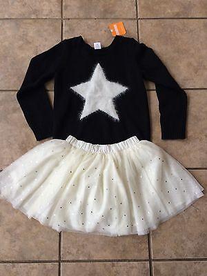 Nwt Gymboree Starry Night Star Black Sweater And Tulle Tutu Skirt 2Pc Set Girls