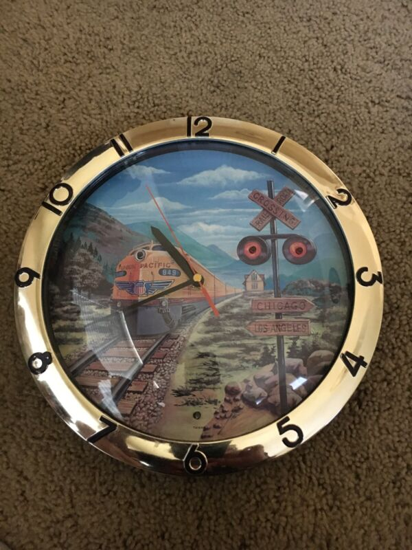 Union Pacific Wall Clock 11 1/2 Diameter Train Noise and Light Up At Crossing